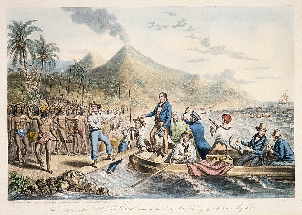 The Reception of the Rev. J. Williams, at Tanna, in the South Seas, the Day Before He Was Massacred, 1841 (B-088-015).jpg