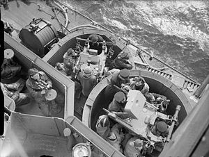 Pom-Pom director - Pom-pom directors, Mk IV on ''HMS King George V''. The large rectangular box centered above the director contains the gyro rate unit. This image was taken early in King George Vs career as the directors do not yet have Type 282 radar.