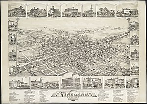 Vineland, New Jersey - Bird's-eye view in 1885