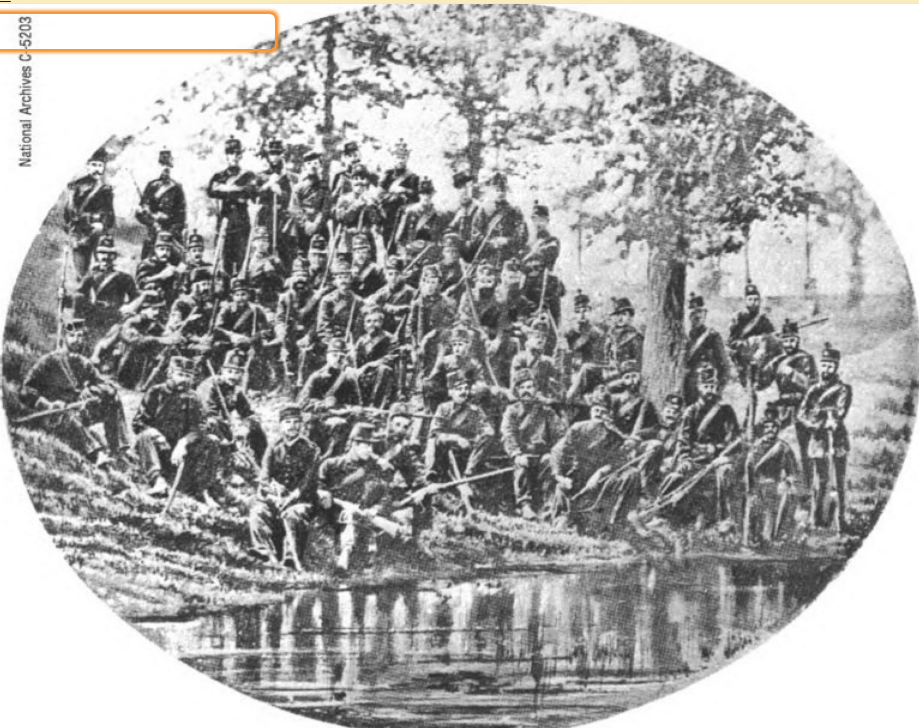 The fifth company of The Queen's Own Rifles - during the Battle of Ridgeway it was the only Company to use modern Spencer Repeating Rifles (cropped)