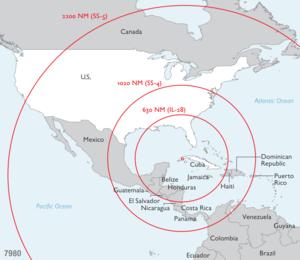 Range of the Soviet missiles in Cuba