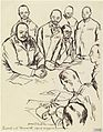 This drawing, sketched after a Japanese Press photograph, records the signing for the surrender of Singapore. The main Japanese figure sitting on the far left is General Yamashita; Colonel Percival, the British Art.IWMART157471.jpg