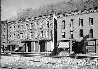 "Thurmond, West Virginia - Commercial district along ""Main Street"" tracks"