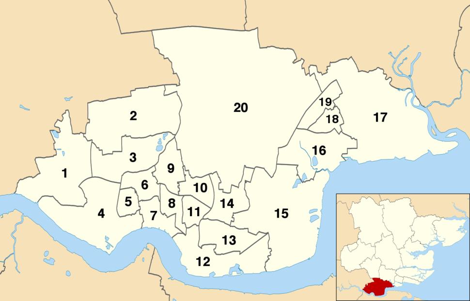Thurrock UK wards 2017 numbered