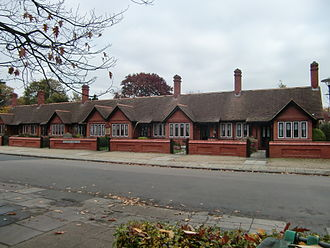 Ham, London - Tollemache Almshouses, Ham Street, erected in memory of Algernon Gray Tollemache in 1892 by his wife