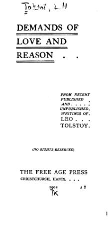 Tolstoy - Demands of Love and Reason.djvu