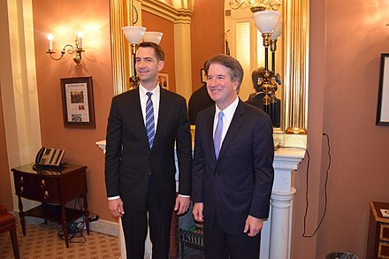 Tom Cotton and Brett Kavanaugh in August 2018 Tom Cotton and Brett Kavanaugh.jpg