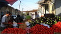 Tomato and eggplant (Brinjal) - Firut vendor in Cotton-beating Bazaar of Nishapur at morning 01.JPG