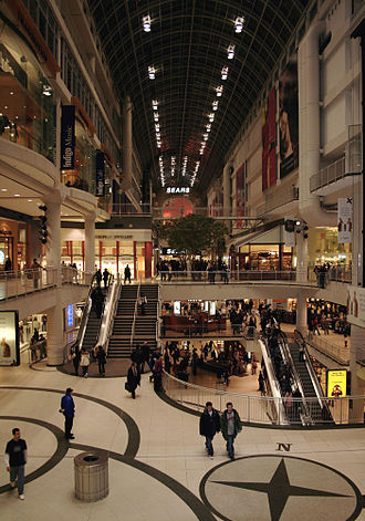Toronto Eaton Centre - Evening interior of the Toronto Eaton Centre in 2005, looking north from the midpoint in the mall.
