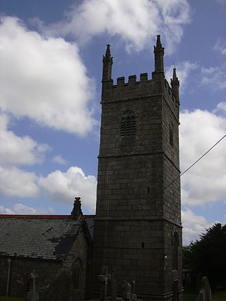 Mabe, Cornwall - The 15th century tower of the Church of St Laudus, Mabe