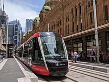 Tram outside the QVB in January 2020.jpg