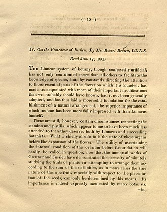 On the natural order of plants called Proteaceae - The first page of On the Proteaceae of Jussieu