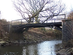 Aberdare Canal - The cast iron bridge of 1811 which carried the canal tramway over the Afon Cynon