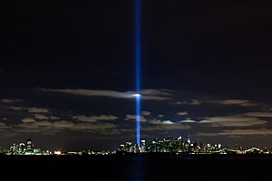 Tribute in Light - In 2010, as seen from Brooklyn.