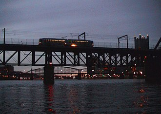 Panhandle Bridge - A one-car T Light Rail train crosses the bridge.