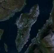 Satellitenbild von Troms� (Troms�ya, Tromsdalen und Kval�ysletta. (Die Kommunegrenzen sind nicht abgebildet)
