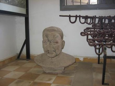 Bust of Pol Pot in the Tuol Sleng Genocide Museum TuolSlang4.jpg
