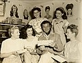 Turhan Bey with Universal Studios mailroom workers,1953.jpg