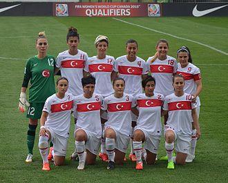Turkey women's national football team - Turkey women's national football team in the home match against Belarus on September 17, 2014: Çağlar (12), Uraz (11), Erol (17), Göksu (4), Elgalp (18), Defterli (9), Karabulut (7), Belci (5), Karagenç (3), Çorlu (2), Kara (10).