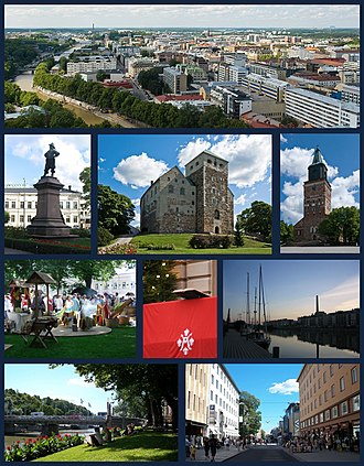Turku - Top row: Aerial view of Turku from atop Turku Cathedral 2nd row: Statue of Per Brahe, Turku Castle, Turku Cathedral   3rd row: Turku Medieval Market, The Christmas Peace Balcony of Turku, Twilight on the Aura River   Bottom row: Summer along the Aura River, view of Yliopistonkatu pedestrian area