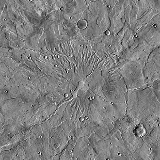 Hesperia Planum - THEMIS daytime IR mosaic image of Tyrrhenus Mons. This ancient, eroded volcano was nicknamed the Dandelion when first seen in Mariner 9 images.