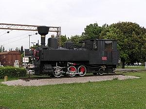 Parenzana - U.37 locomotive monument in Koper (side)