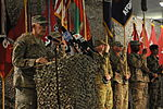 U.S. Army Maj. Gen. Jim Huggins, the commanding general of the 82nd Airborne Division and the outgoing Regional Command-South commanding general, speaks to NATO force members, Afghan National Security Force 120902-A-AP855-097.jpg