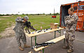 U.S. Army Sgt. Shawn Beaver, left, with the Joint Multinational Training Command, installs a Deployable Instrumentation System Europe on a Latvian National Armed Forces soldier's G36 rifle May 31, 2013 130531-A-YT363-001.jpg