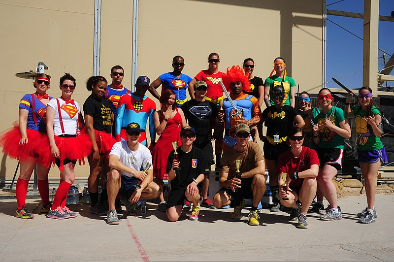File:U.S. Service members dressed as superheroes assigned to Combined Team Uruzgan pose at the end of the 5K Super Hero Fun Run June 7, 2013, at Multinational Base Tarin Kowt in Afghanistan 130607-O-CM658-827.jpg