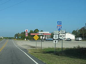 U.S. Route 401 - The north end of US 401 at I-85