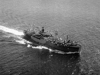 Military career of L. Ron Hubbard - The amphibious cargo ship USS Algol at sea, circa 1944. L. Ron Hubbard served aboard from December 1943 to September 1944.