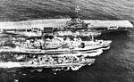 USS Ashtabula (AO-51) refueling USS Bennington (CVA-20) and USS Ernest G. Small (DDR-838) c1956.jpg
