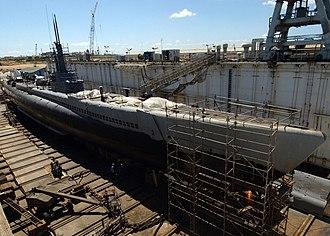 USS Bowfin (SS-287) - Bowfin in drydock undergoing restoration, 2004
