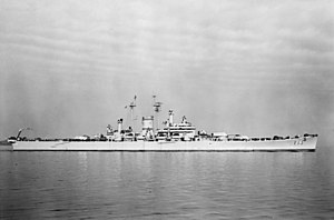 USS Des Moines (CA-134) - Des Moines off Boston in November 1949.