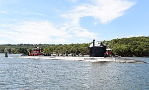 USS Illinois (SSN-786) is delivered to Naval Submarine Base New London on 30 August 2016.JPG