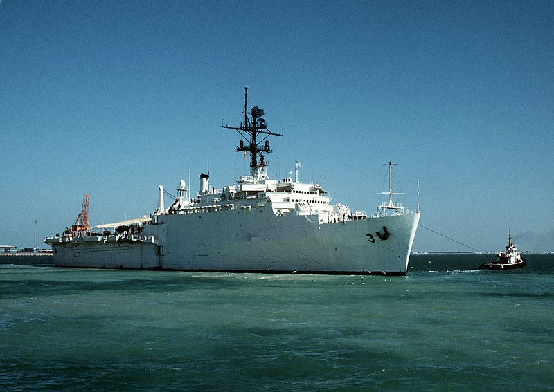 File:USS La Salle (AGF-3) leaving Bahrain 1988.JPEG
