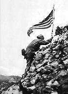 US Flag raised over Shuri castle on Okinawa