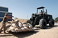 US Navy 030310-N-5362A-005 A U.S. Navy Seabee attached to Amphibious Construction Battalion One (ACB-1) loads sand bags onto a forklift.jpg