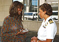 US Navy 040910-N-4729H-022 Miss America 2004 Ericka Dunlap talks to Commanding Officer of Navy Recruiting District Philadelphia, Pa., Cdr. Angela Cyrus.jpg