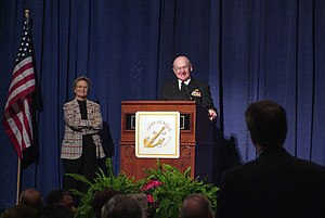 Navy League of the United States - The Navy League's emblem is visible on the podium as Admiral Vern Clark speaks at a Navy League event in 2005