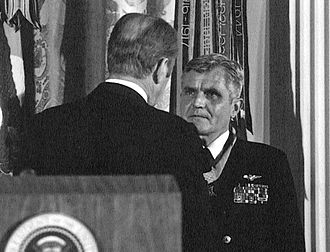 Epictetus - Prisoner of war James Stockdale receiving the Medal of Honor from American president Gerald Ford; Stockdale was able to retain his sanity during capture by relying on the philosophy of Epictetus
