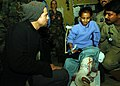 US Navy 051126-N-1261P-080 Academy Award nominated actor Brad Pitt visits a young girl who is a patient at the 212th MASH unit in Muzaffarabad, Pakistan.jpg