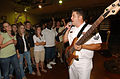 US Navy 070522-N-3750S-111 Musician 2nd Class Jeremy Middleton, bassist and unit leader for Navy Band Southeast group Pride, rocks a crowd of students from Northwest Cabarrus High School.jpg