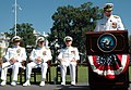 US Navy 080808-N-0502M-054 Vice Adm. Kevin M. McCoy addresses the official party and gathered guests after assuming command of Naval Sea Systems Command (NAVSEA) from retiring Vice Adm. Paul E. Sullivan during a change of comma.jpg