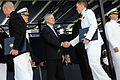 US Navy 090522-N-5549O-241 Secretary of the Navy (SECNAV) the Honorable Ray Mabus congratulates a newly commissioned Navy ensign during the U.S. Naval Academy Class of 2009 graduation and commissioning ceremony.jpg