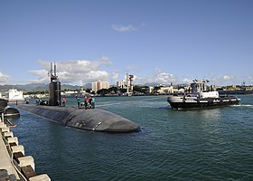 US Navy 091124-N-3560G-088 The Los Angeles-class submarine USS Columbus (SSN 762) departs Naval Station Pearl Harbor for a scheduled deployment to the western Pacific region.jpg