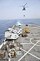 US Navy 110514-N-GW695-068 Sailors and Marines move pallets of supplies on the flight deck aboard the amphibious transport dock ship USS Green Bay.jpg
