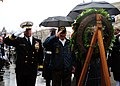 US Navy 111207-N-KV696-075 Rear Adm. Patrick J. Lorge and Frank Yanick render honors during a wreath laying ceremony at the U.S. Navy Memorial.jpg