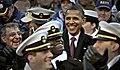 US Navy 111210-D-NI589-155 Standing among U.S. Navy Midshipmen, President Barack Obama and Secretary of Defense Leon Panetta, far left, enjoy the A.jpg