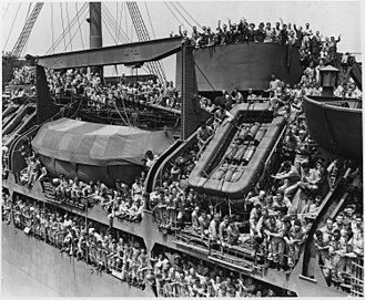 Demobilization of United States armed forces after World War II - US troops returning home aboard the USS General Harry Taylor in August 1945